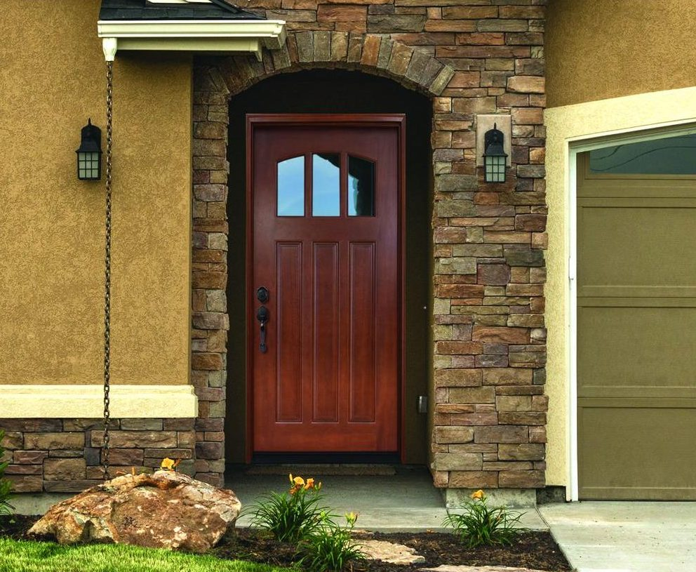 The natural beauty and warmth of wood is captured in this pre-finished mahogany door.