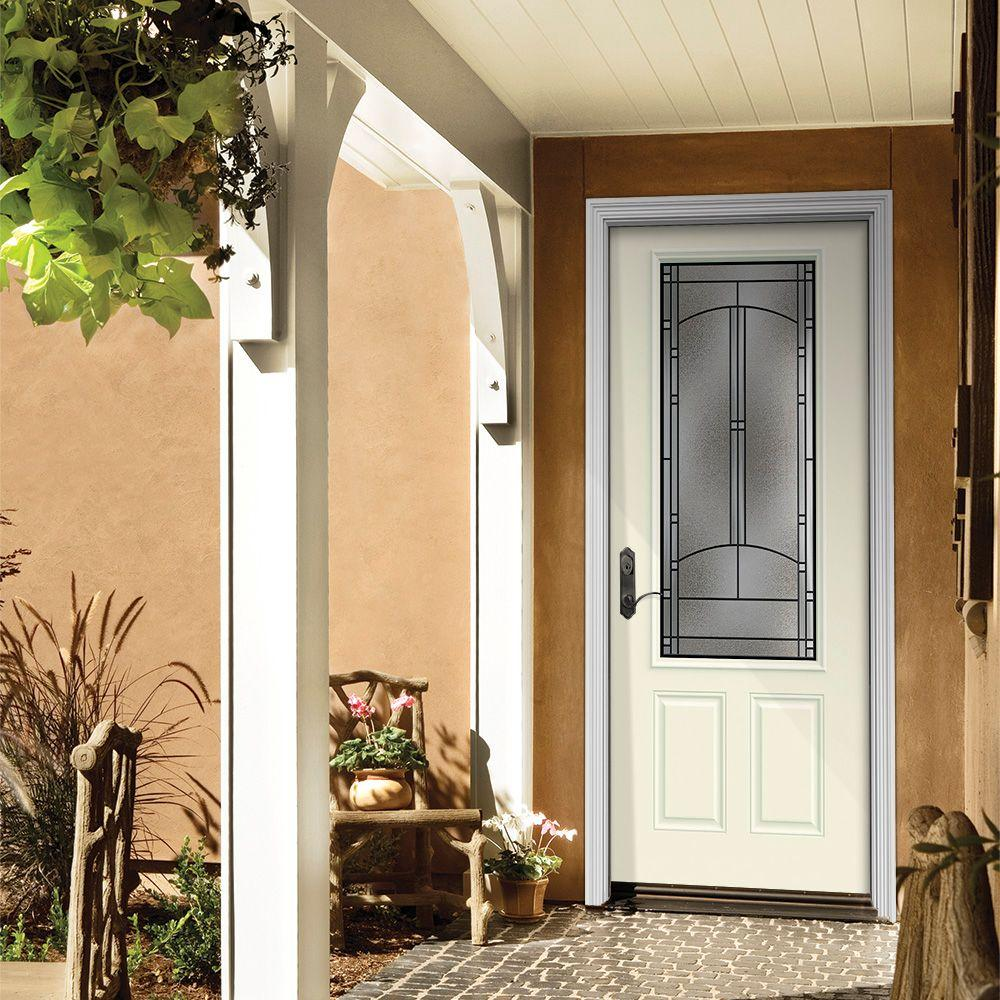 This steel entry door has a decorative glass panel and is available pre-finished in six paint colors.