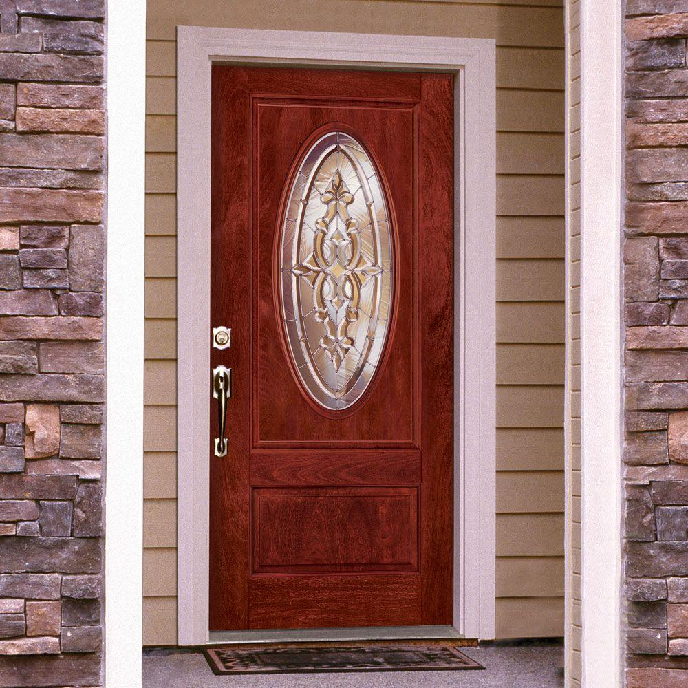 Don't be fooled by its rich cherry wood finish. This resilient door is made of fiberglass.