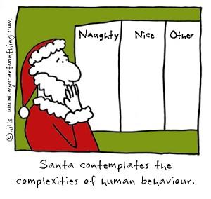 Santa and naughty or nice cartoon