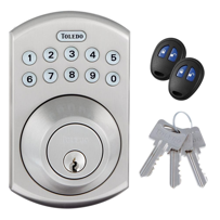 This ruggedly built Toledo stainless-steel electronic deadbolt can be operated with a pushbutton keypad, remote control or traditional key.
